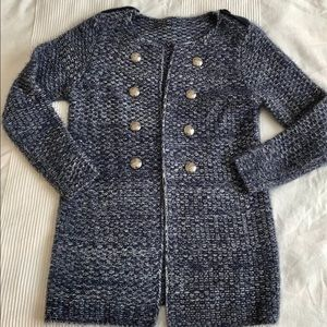 Open Front Long Cardigan with Button Details EUC